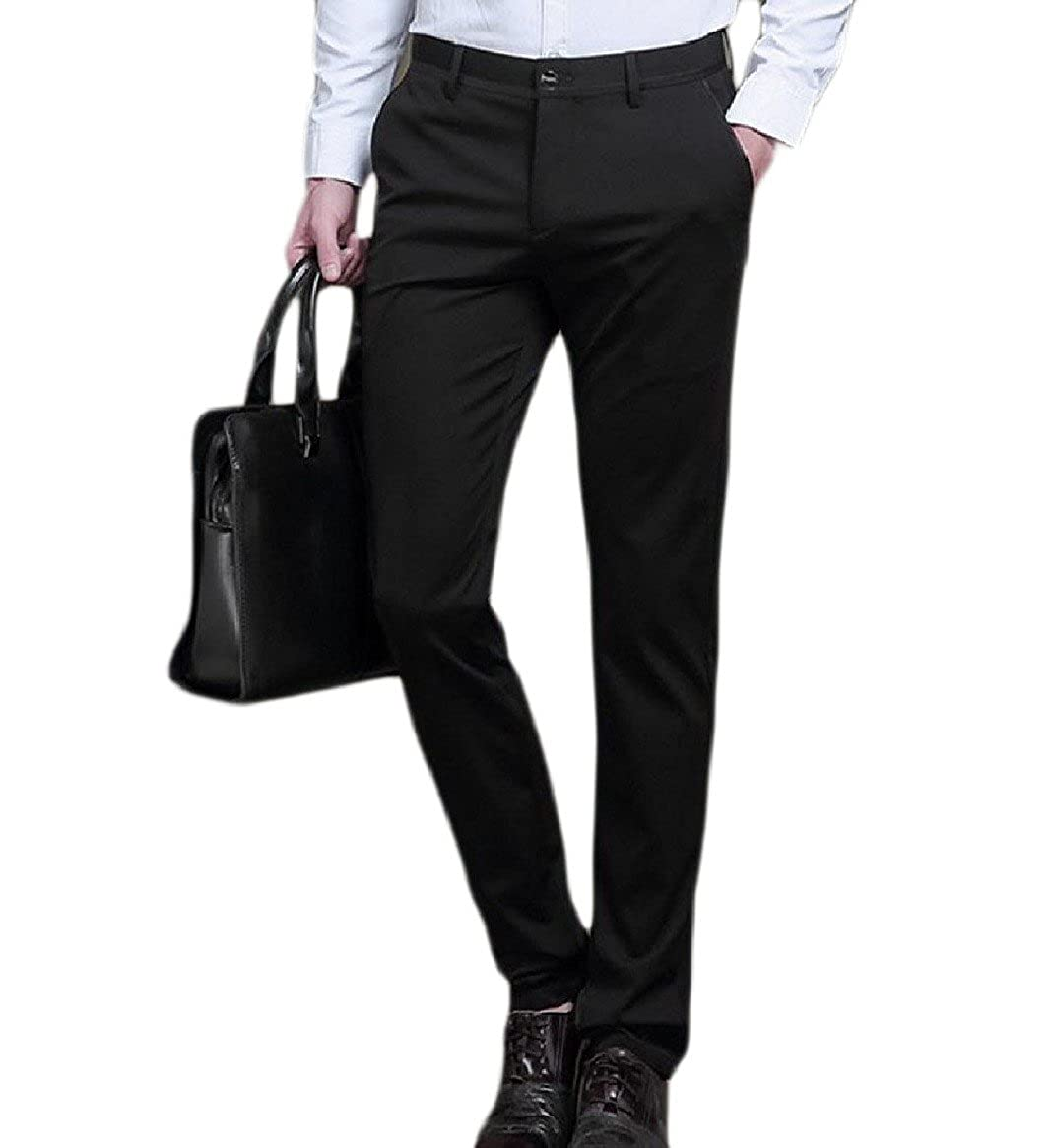 Tootless-Men Straight Flat Front Business Slim Fitted Solid Suit Separate Pant