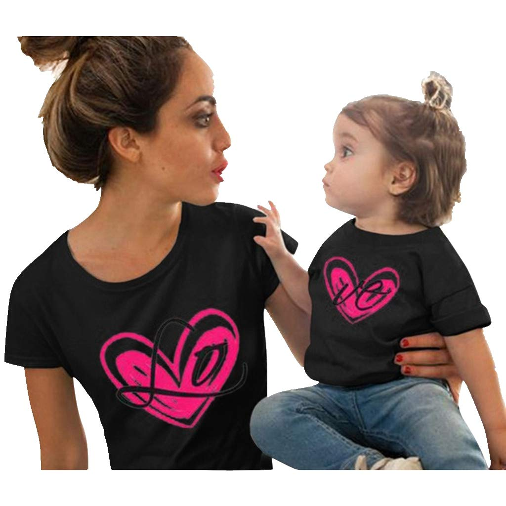 Mommy and Me, Love Print Short Sleeve Mother Daughter Matching T-Shirt Tops for Mother's Day (2-3 Years, Black)