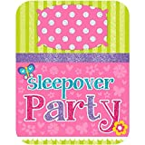 Amscan Slumber Party Girls Sleepover Large Novelty Glitter Invitation Cards (Pack of 8), Pink/Green, 6