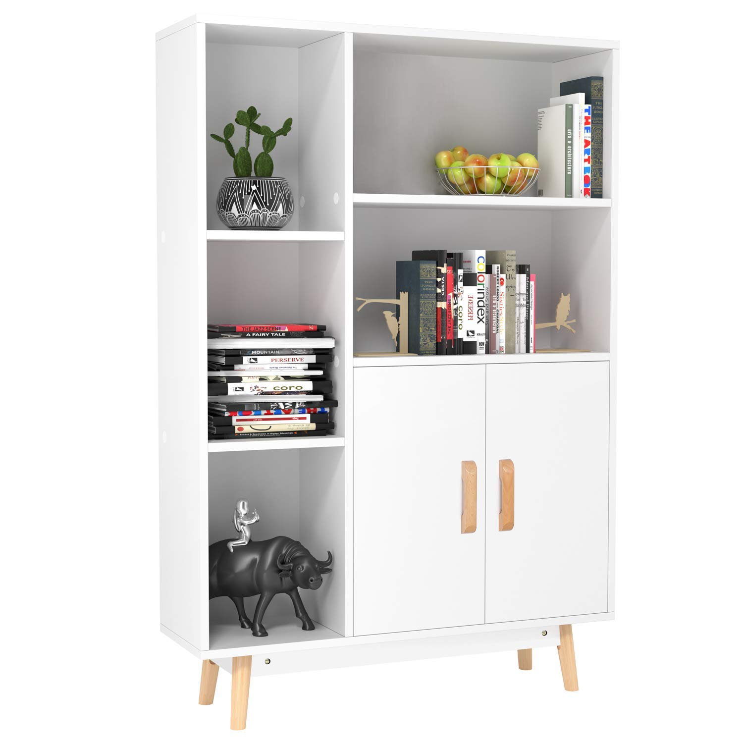 Homfa Floor Storage Cabinet, Free Standing Wooden Display Bookcase with Double Doors, 2 Shelves, 3 Cubes and 4 Legs, Side Cabinet Decor Furniture for Home Office, White by Homfa