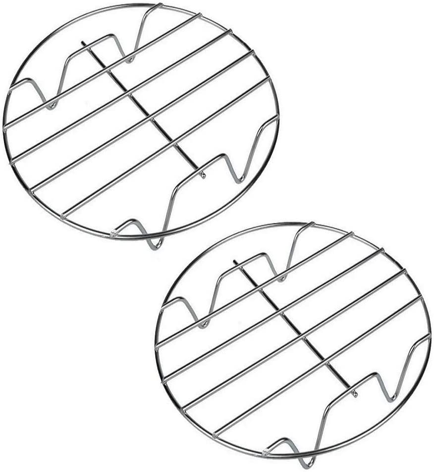 8 Inch Cooking Rack Round 304 Stainless Steel Baking and Cooling Steaming Rack w Stand Cookware Fit for Air Fryer Instant Pot Pressure Cooker Canning Set of 2 (A)