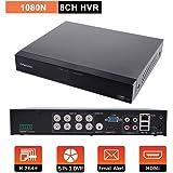 Evtevision 8CH 1080N防犯録画機 AHD DVR ビデオレコーダー 1080N AHD/TVI/CVI/CVBS/Onvif IP 5-in-1,DVR/NVR/HVR防犯レコーダー iPhone/Androidスマホ遠隔監視対応 日本語システム(HDDなし)