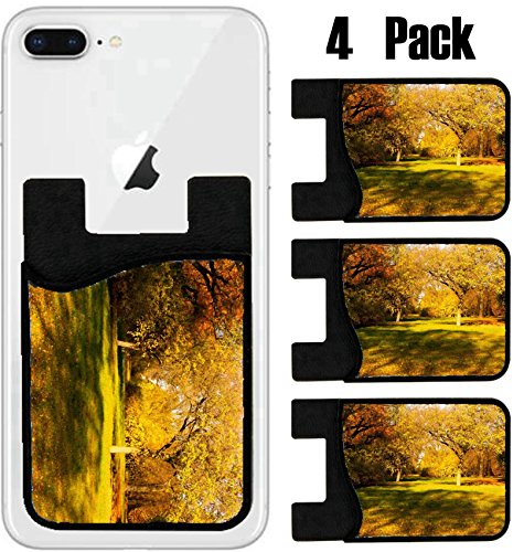 MSD Phone Card holder, sleeve/wallet for iPhone Samsung Android and all smartphones with removable microfiber screen cleaner Silicone card Caddy(4 Pack) Meadow Autumn in the Park Image ID - Park Meadows Fit