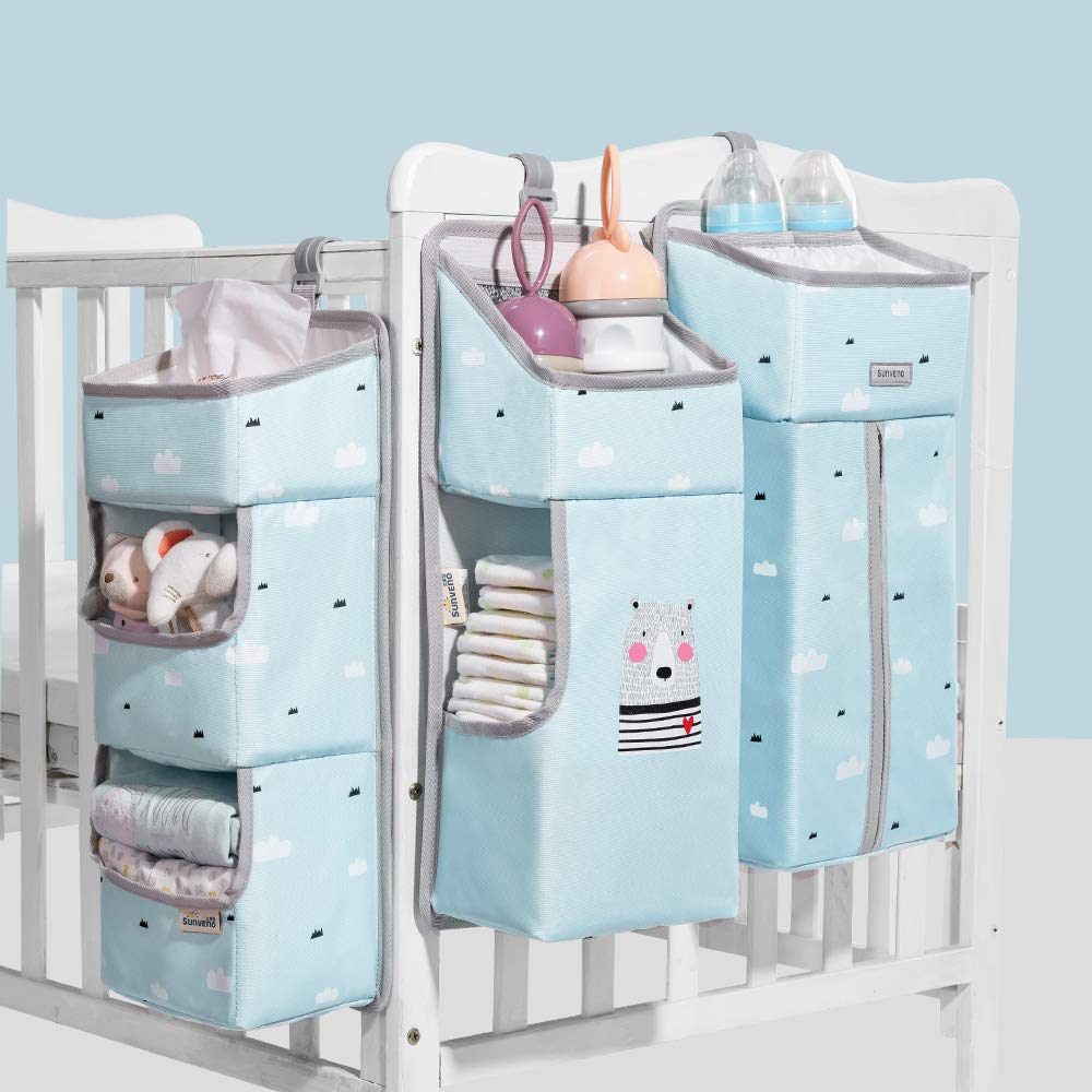 SUNVENO Hanging Diaper Caddy Organizer Foldable Comforter Baby Bed Hanging Bags Organizers 3 in 1 Set Bedside Storage Bags, Blue by SUNVENO