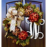 Fall Mum Monogram Wreath with Gold Print Bow and Brown, Orange and Moss Green Mums on Grapevine Base-Farmhouse Style Decor