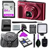 Canon PowerShot SX620 HS (Red) with 64GB SD Memory Card + Mini Stable Tripod and Grip + LED Video Light Accessory Bundle (Red)