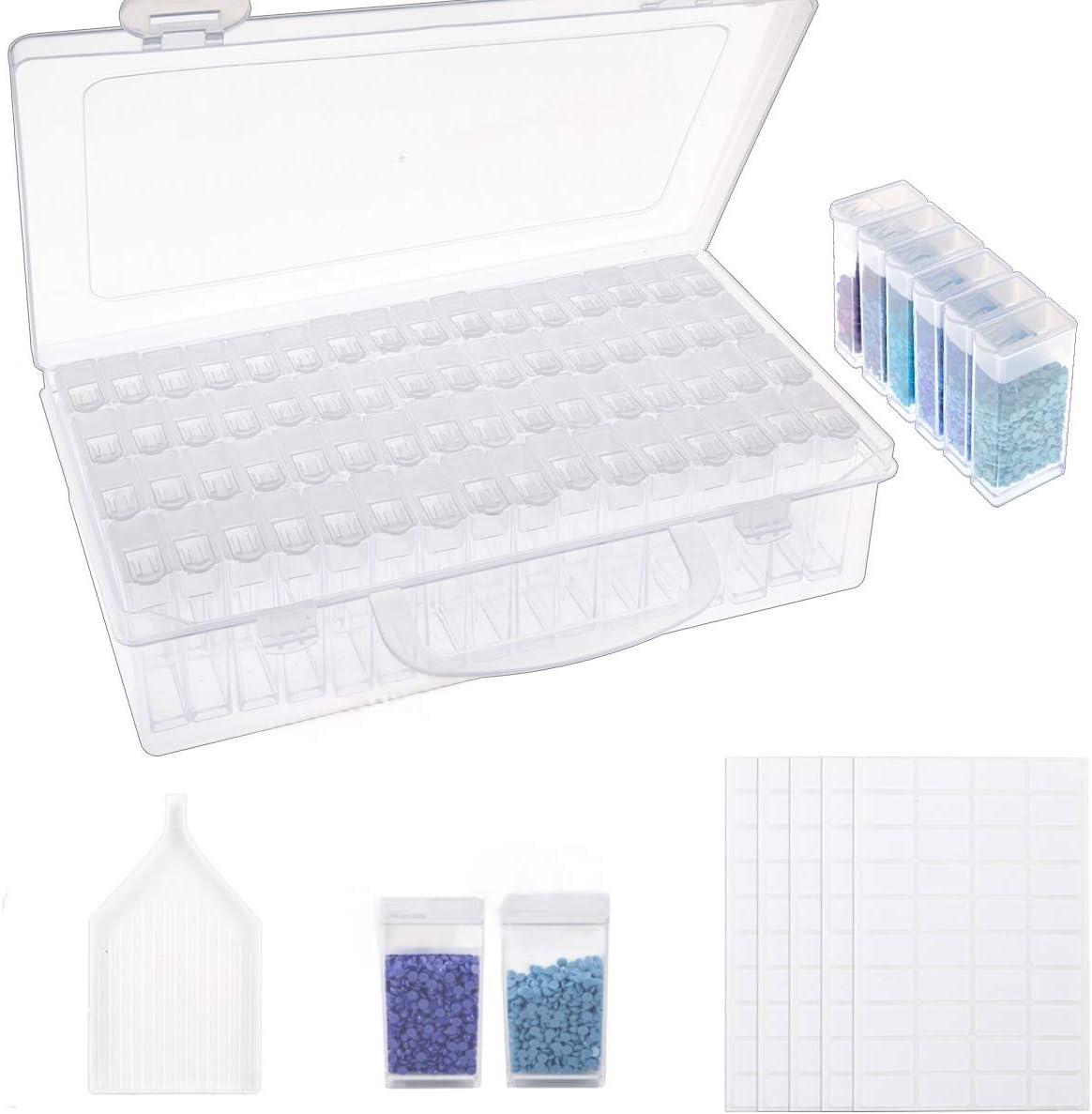 Pinzetten f/ür N/ägel DIY Handwerk duoledaeu 84 Diamond Painting Box Plastik Diamant Stickerei Sortierbox Perlenbox Aufbewahrungbox Painting Organizer mit Trichterplatte Strass Perlen