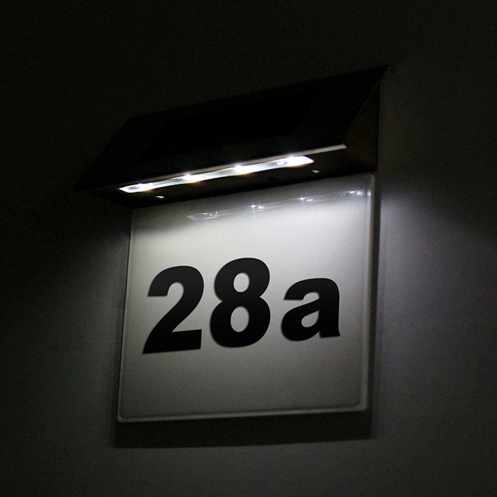 ALLOMN Solar Powered LED Doorplate Number Light Stainless Steel Outdoor Wall Plaque Light Address Stake by ALLOMN (Image #3)