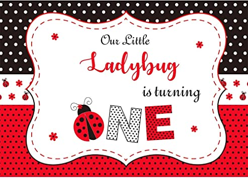 Astounding Amazon Com Allenjoy 7X5Ft Ladybug Backdrop For Girls 1St First Personalised Birthday Cards Sponlily Jamesorg