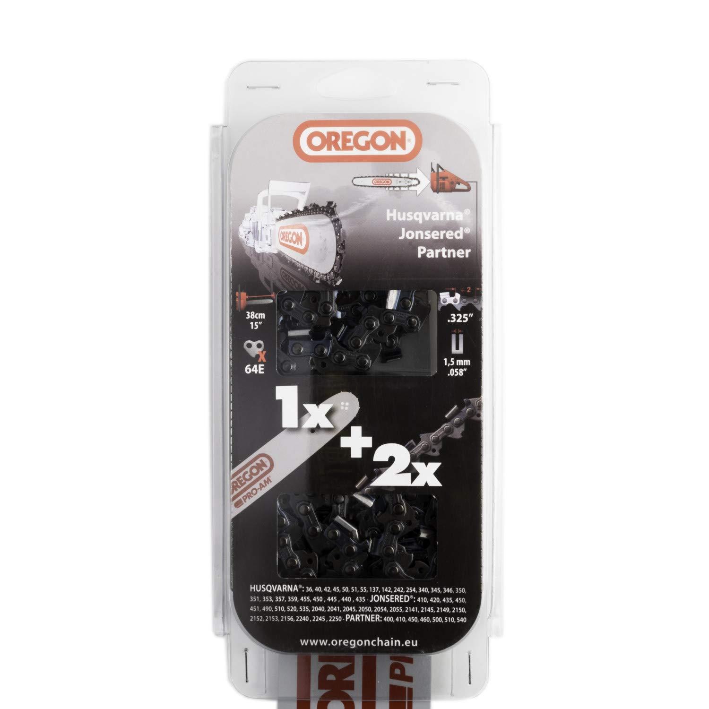 Combo Oregon guía 38 cm 158PXBK095 + 2 Chaines 21bpx064: Amazon.es ...