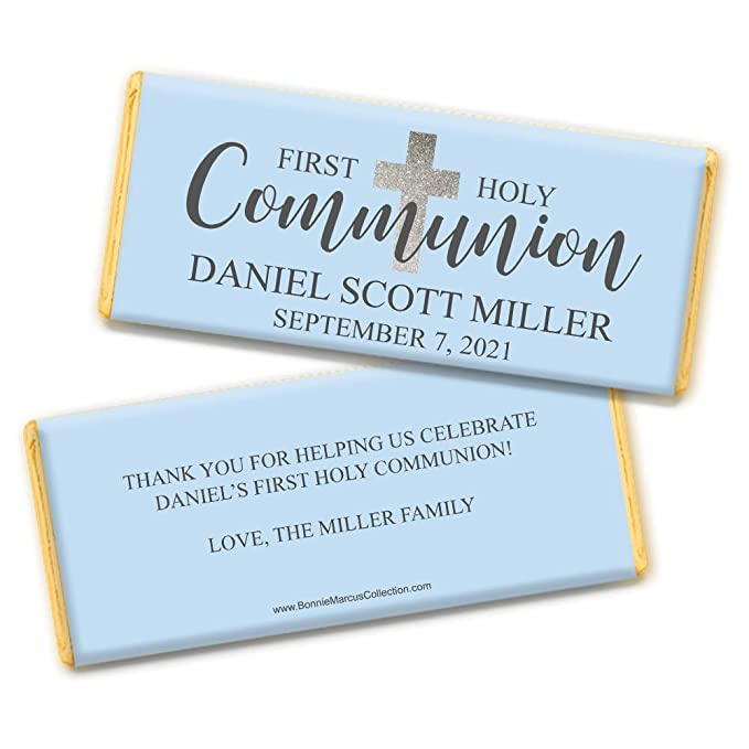 30 Personalised DIY 1st Communion Day Chocolate /& Sweet WRAPPERS Favours Blue