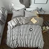 BuLuTu White and Grey Striped Print Kids Duvet Cover Sets Twin Cotton Neutral Teen Bedding Collections For Boys and Girls Zipper Closure With 4 Corner Ties