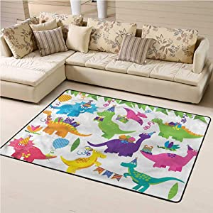 Area Rug Dinosaur Party, T Rex Anniversary Baby Floor Playmats Crawling Mat for Living Room Kids Room 6 x 9 Feet