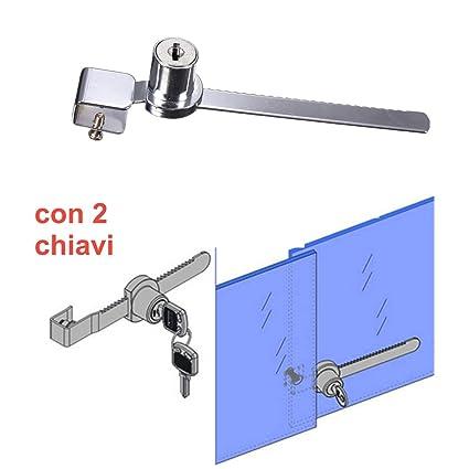 Cerradura de níquel para vitrina corredera, con 2 llaves – Candado tope vitrina ideal X