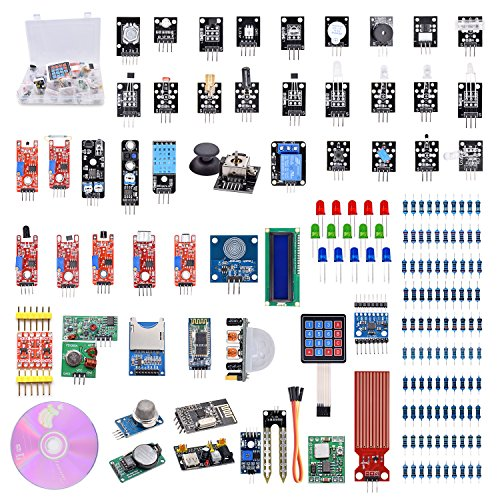 WeiKedz The Most Complete Ultimate Starter Kit 51 in 1 Sensors Modules for Arduino, Bluetooth Module, Joystick Module, Ultrasonic Sensor, DHT11, NRF24L01 Wireless, 1602 Display, etc. with Lessons CD by WeiKedz