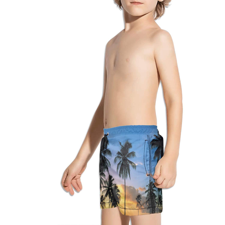 Boys Kids Beaches Palm Trees Sunset Quick Dry Beach Swim Trunk Novelty Swimsuit Beach Shorts with Mesh Lining