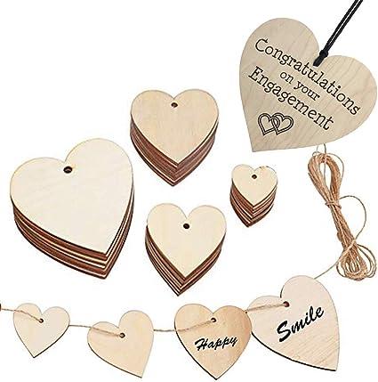 100pcs Mixte en forme de cœur inachevée en Bois Embellissement Pour Mariage Décor