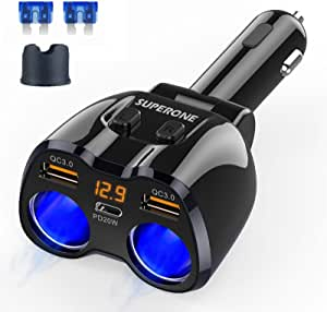 Cigarette Lighter Splitter, SUPERONE 180W 2-Socket Cigarette Lighter Adapter with Dual QC3.0 and 20W PD USB C Car Charger Splitter for GPS/Dash Cam/Laptop/iPad/iPhone 12/11/X/8/7, Samsung and More