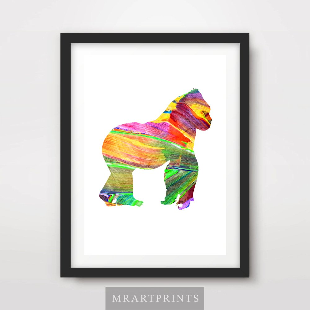 ANIMAL SILHOUETTE GORILLA ART PRINT POSTER Bright Colour Colourful Modern Contemporary Illustration Painting Home Decor Interior Design Wall Photo Picture A4 A3 A2 (10 Sizes)