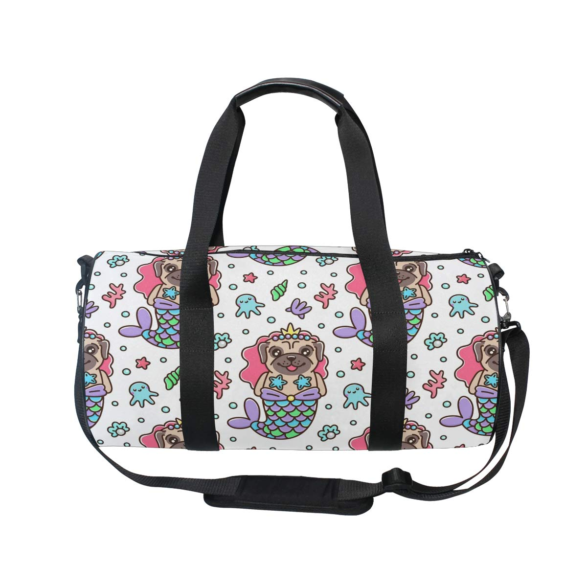 WIHVE Gym Duffel Bag Dog Pug Mermaid Octopus Starfish Sports Lightweight Canvas Travel Luggage Bag