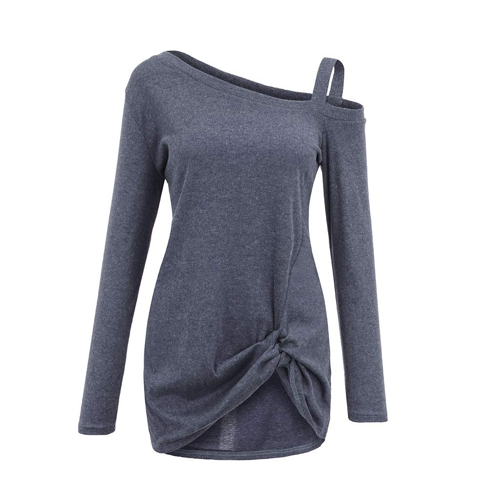 ManxiVoo Women Side Twist Knot T-Shirt Long Sleeve Strappy One Shoulder Blouse Tops Casual Loose Tee Shirt