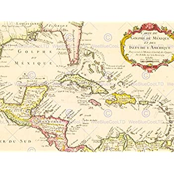 Amazoncom Caribbean Map Prints Posters Prints - Map of the caribbean sea