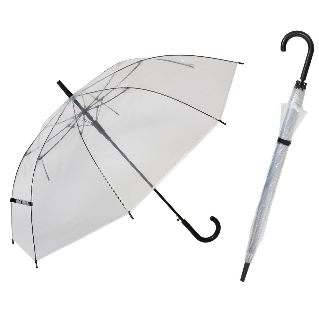 大きい 透明ジャンプ傘 (18本組) [ブラック] 65cm×8本骨 耐風グラスファイバー骨 ビニール傘【LIEBEN-0631】 B0186NQSJY