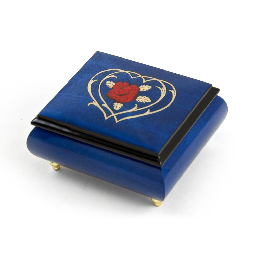 Radiant Blue Musical Jewelry Box With Double Heart and Red Rose Inlay - I Will Always Love You (Whitney Houston)