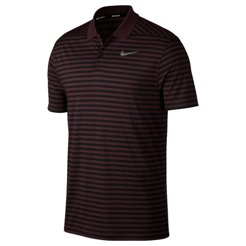 Nike Men's Dri Fit Victory Stripe LC Golf Polo (Burgundy Crush/Black, Small)
