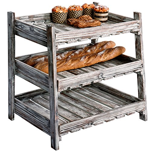 MyGift Multipurpose 3-Tier Country Rustic Wood Crate Design Tabletop Organizer Display Rack