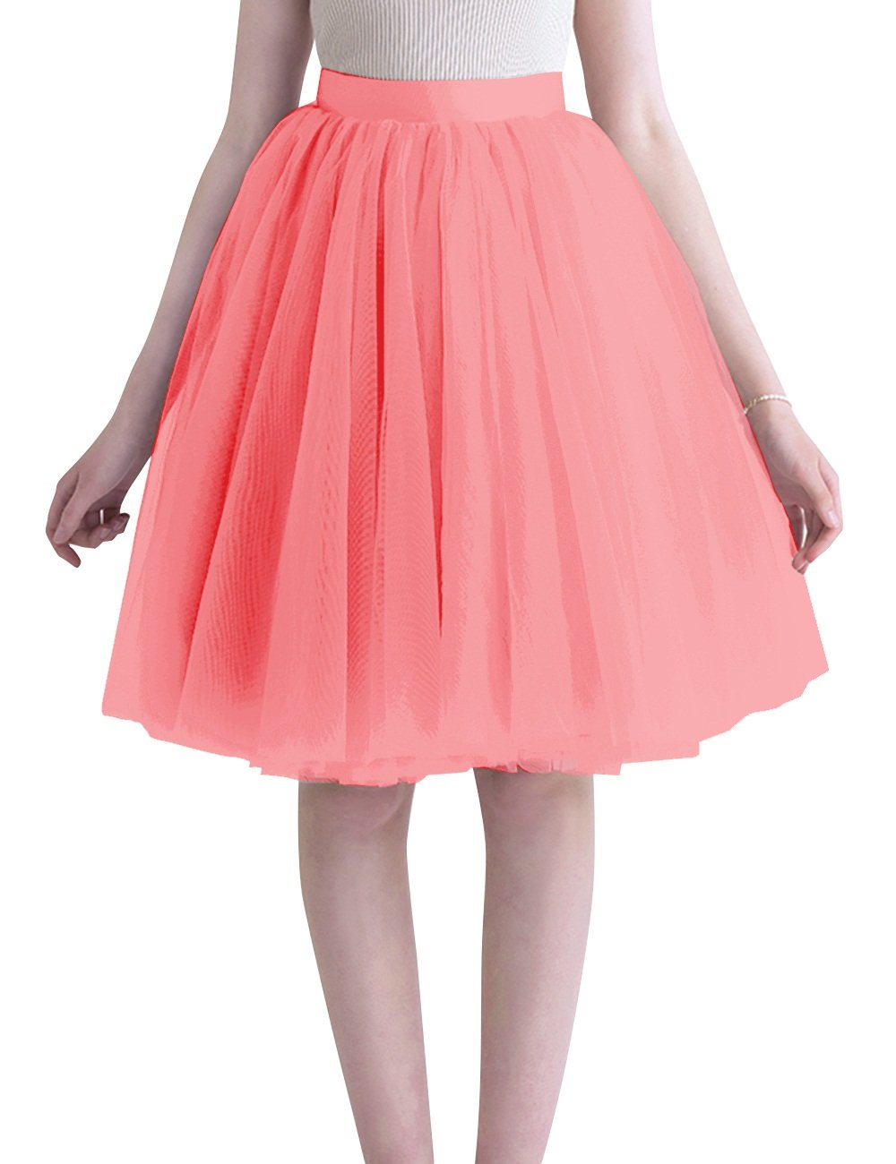 Dasior Summer Fit and Flare Full Tulle Skater Skirts 5X Plus Watermelon