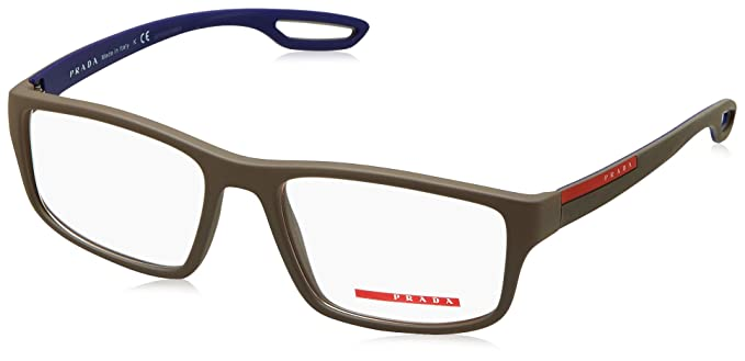 cc9f671e45 Prada Linea Rossa Men s PS 09GV Eyeglasses Brown Rubber 55mm  Amazon ...
