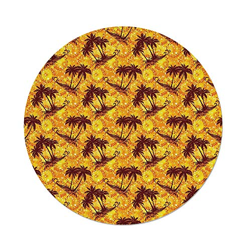 iPrint Polyester Round Tablecloth,Hawaiian,Ocean Sea Island Themed Pattern with Palm Trees on Vivid Circled Backdrop,Marigold and Brown,Dining Room Kitchen Picnic Table Cloth Cover,for Outdoor Indoor
