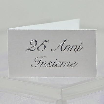 20 Bigliettini Bomboniera Bianchi Anniversario 25 Anni Matrimonio