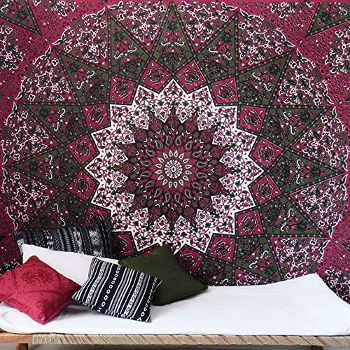 Large Queen Burgundy Red Indian Elephant Mandala Tapestry Hanging Picnic Bohemia