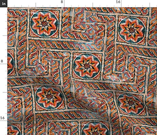 Spoonflower Tiles Fabric - Mosaic Red Star Trellis Roman Print on Fabric by The Yard - Petal Signature Cotton for Sewing Quilting Apparel Crafts Decor