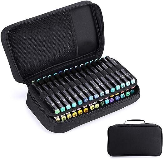 BTSKY Estuche Lápices Organizador de Lápices Rotuladores con 60 Ranuras para Marcadores Copic Prismacolor Gran Capacidad Nailon con Asa Portátil, Color Negro(No hay lápices): Amazon.es: Hogar