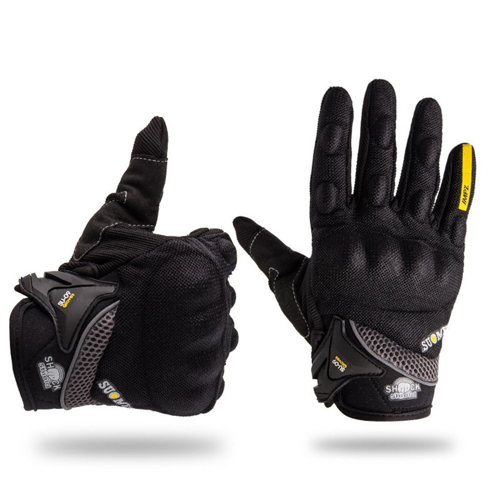 Wonzone Motorcycle Riding Cycling Full Finger Gloves Outdoor Sports Men Summer Spring Bicycle Powersports Motorbike Touch Screen Gloves (Black, Large)