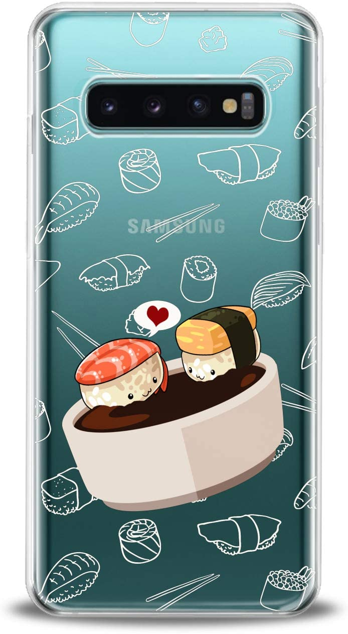Lex Altern TPU Case Compatible for Samsung s21 Ultra s20 FE S10 Plus Note 10 s9 s8 Lightweight Heart Kawaii Food Design Print Sauce Clear Pattern Art Soy Girl Cover Slim fit Smooth Soft Sushi Kids