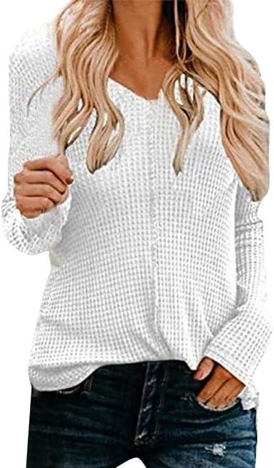 Jerseys Mujer Camisa de Moda para Mujer suéter de Tendencia Cuello en V Color sólido Blusas de Manga Larga Camisas Mujer Elegantes Slim Camisetas Ajustadas Mujer LiNaoNa: Amazon.es: Ropa y accesorios