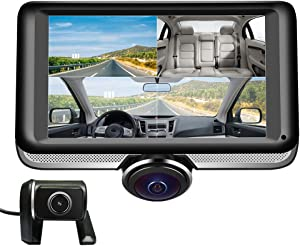LUU Dash Cam 360˚ Panorama Front Camera and Rear Camera for Cars, Dual Dashboard Camera Recorder for Taxi Driver