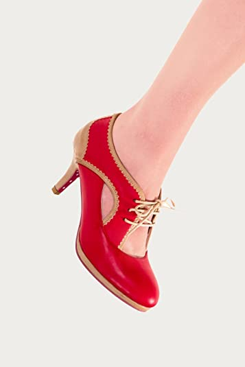 Red Camille Platform Pump Wide Fit