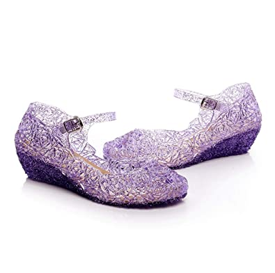 57fc4644f88 Jelly Sandal for Girls Princess Girls  Sparkle Dress Up Cosplay Heel Jelly  Shoes Purple