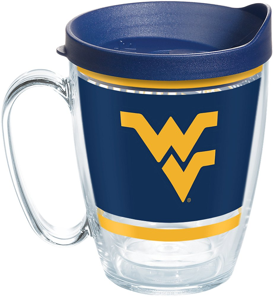 16oz Mug Clear Tervis 1257505 West Virginia Mountaineers Legend Insulated Tumbler with Wrap and Lid