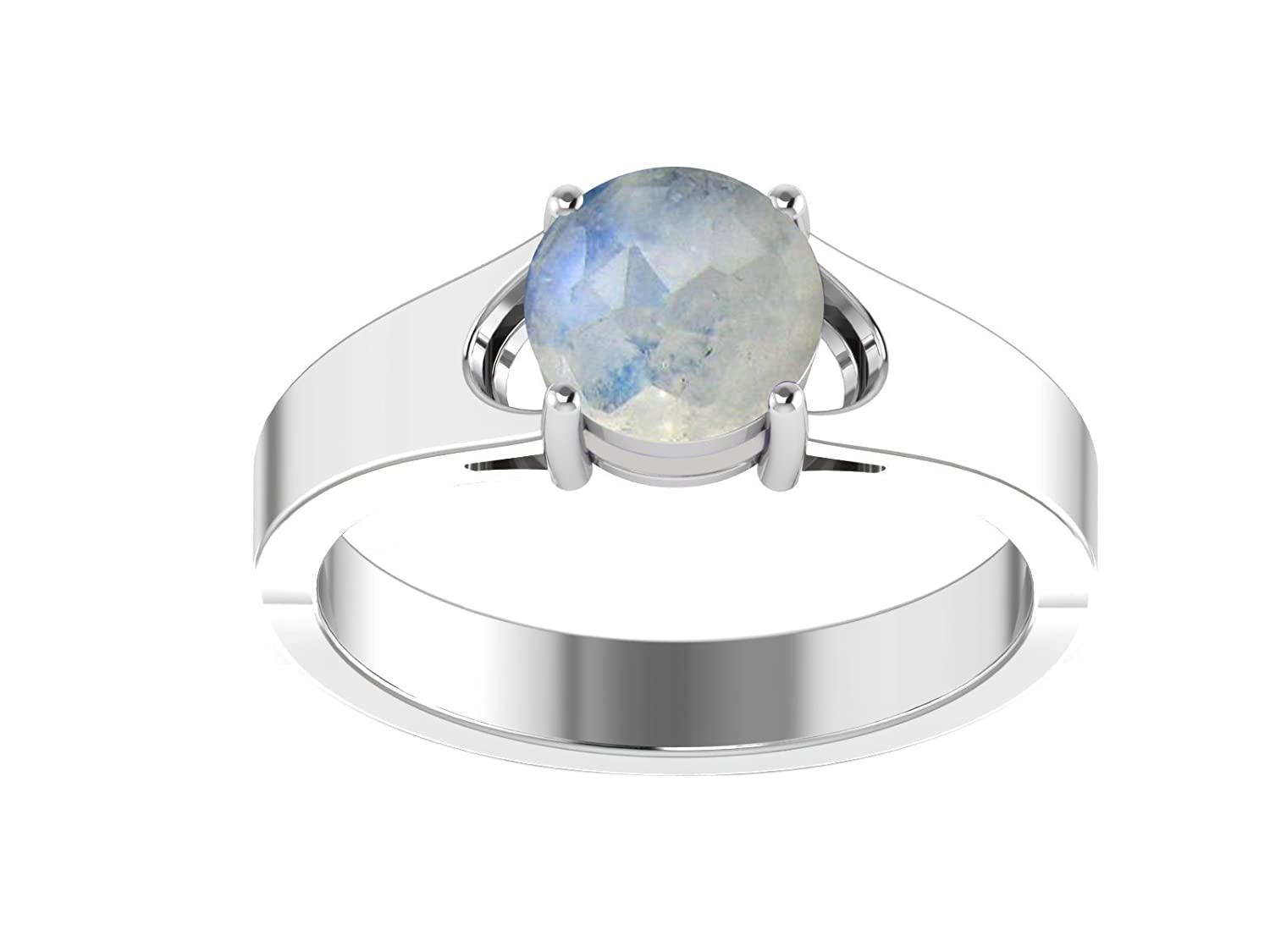 925 Sterling Silver Multi Color Gemstone Solitaire Wide Shank Wedding Party Wear Ring for His /& Her