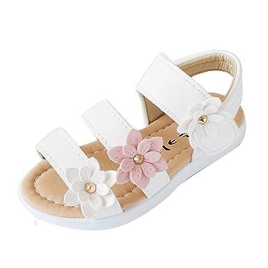 3a40bcfacc52d ... Sandales Mode Grandes Filles Bébés Fleurs Sandales avec des Chaussures  Antidérapantes à Semelles Douces Chaussons  Amazon.fr  Vêtements et  accessoires