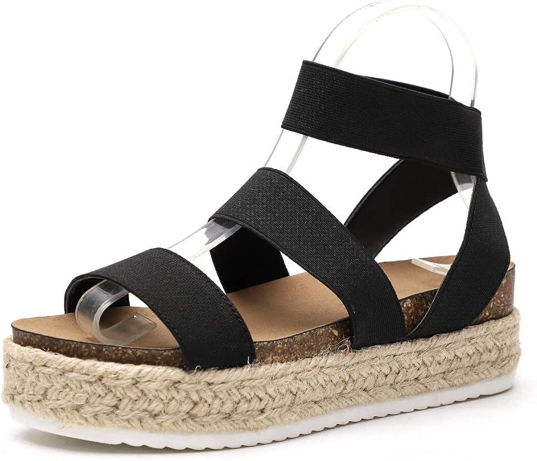 Amazon.com | Women's Strappy Platform Sandals Open Toe Espadrille Sandal  Elastic Strappy Adjustable Strap Platformed Sandals | Platforms & Wedges