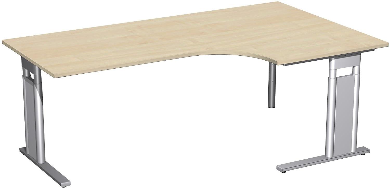 Geramöbel PC-Schreibtisch rechts höhenverstellbar, C Fuß Blende optional, 2000x1200x680-820, Ahorn/Silber