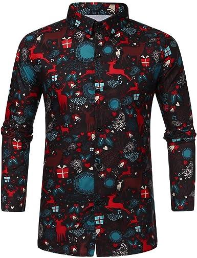 Navidad Camisa De Manga Larga Los Hombres Casual Snowflakes Santa Candy Impreso Navidanos Camisa Blusa Superior Ocio T-Shirt riou: Amazon.es: Ropa y accesorios