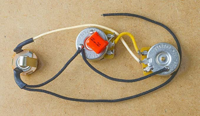 Telecaster Wiring Harness-CTS Brass Shafts-Orange Drop-Switchcraft-3a